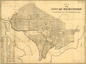 Map of Washington, 1846. Map shows the squares and streets of the city, but not where the actual buildings are.
