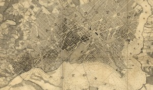 Boschke map of Washington, 1857, showing where the buildings are. A close look reveals most development concentrated around the Capitol, White House, and 7th Street--but most of the L'Enfant-Ellicott plan remained undeveloped.