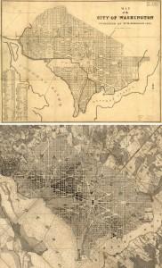 1846 and Boschke maps of Washington, merged together